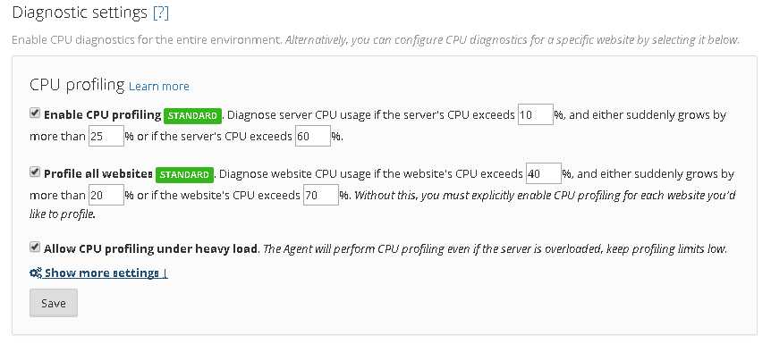 Environment-level CPU diagnostic settings