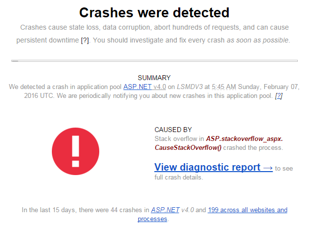 Crash insights let you know when a crash is detected and what caused it.
