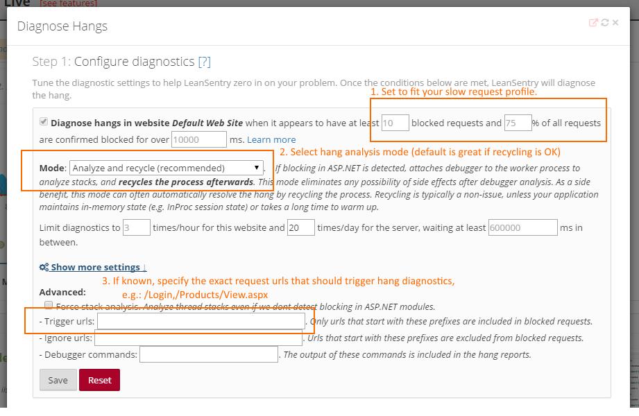 Hang diagnostics: configure triggers, limits, and more.