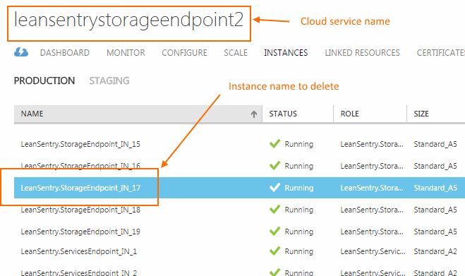 Locating Azure compute service name and instance name