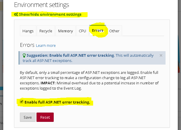 Enable full ASP.NET error tracking