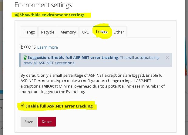 Enable full ASP.NET error tracking