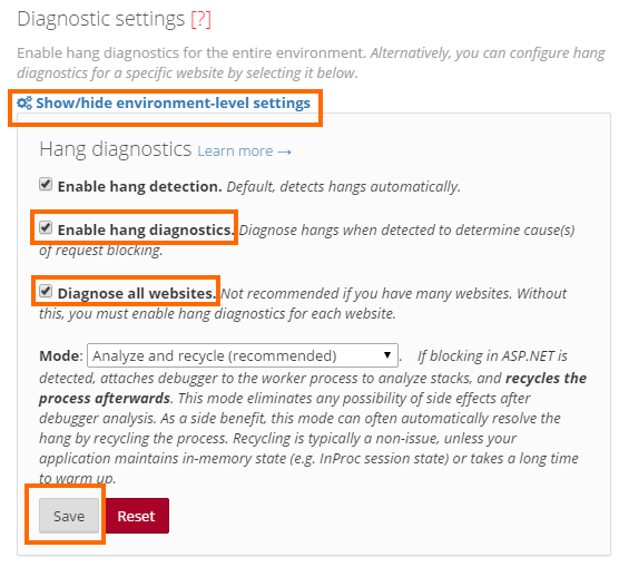 Enable hang diagnostic settings for the entire environment
