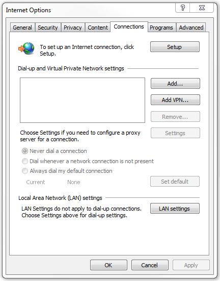 IE: Connection settings