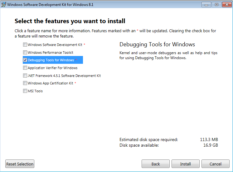 Install the Windows Debugging Tools