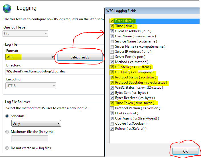 Configure IIS logging fields