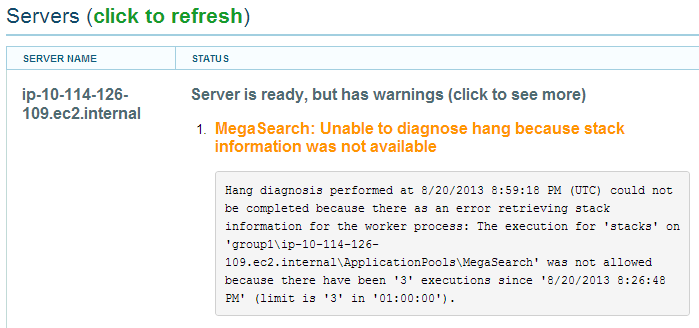 Hang diagnostic: warning