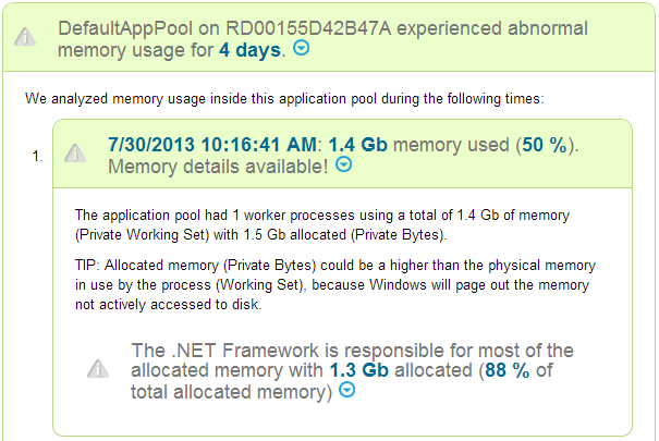 LeanSentry: Memory diagnostic on the alert page