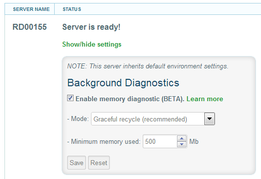 LeanSentry: Enable memory diagnostics (server settings)
